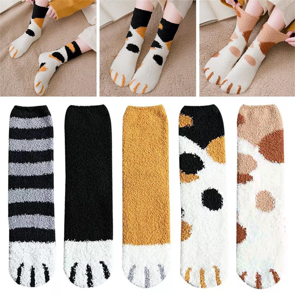 Calcetines de terciopelo de Coral de felpa con forma de pata de gato, calcetines de tubo para mujer, bonitos calcetines gruesos cálidos para otoño e invierno, ideal para regalo de cumpleaños