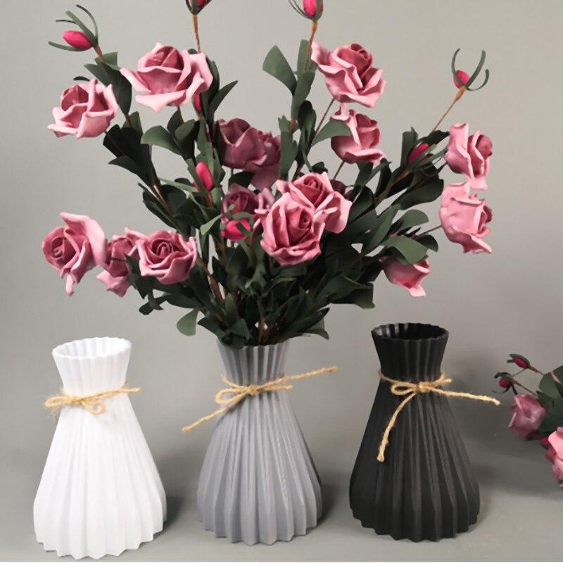 Imitação de rattan criativo simplicidade vasos decoração para casa vasos anti-cerâmica casamento europeu moderno quarto decorações