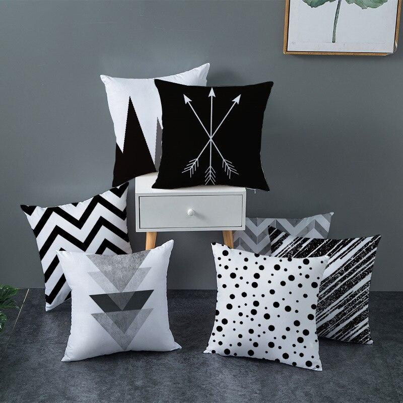 Черно-белый геометрический чехол для подушки, декоративный чехол для подушки, полиэстеровый чехол для диванной подушки, чехол с полосатым п... чехол