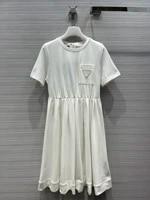 mini luxury brand cotton for women 2021 early spring elegant pleated dress o neck high waist a line short sleeve dresses