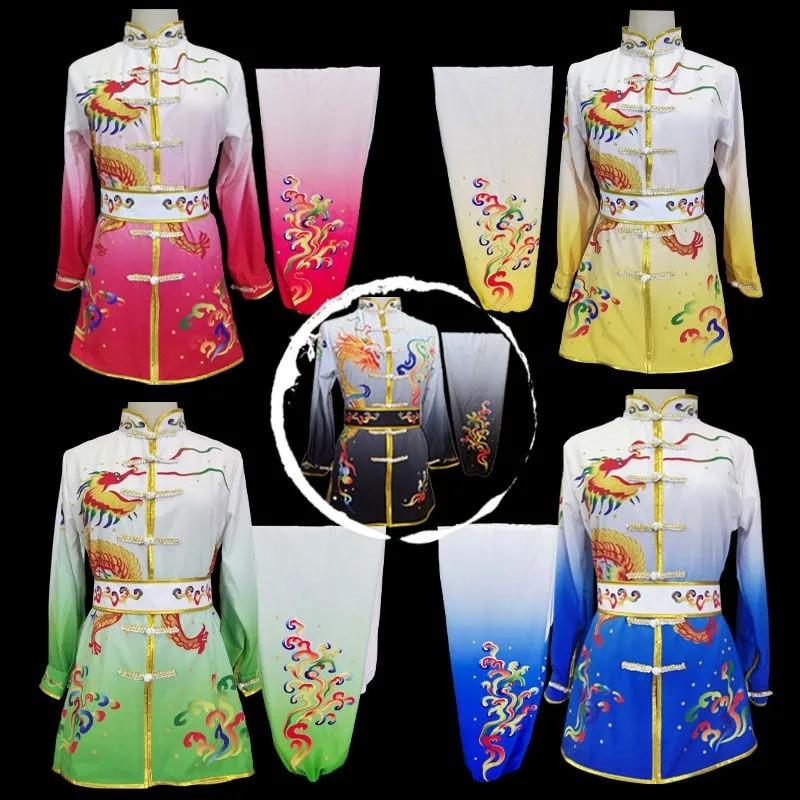 Wushu Stage Dragon Lion Dance Kungfu set Tai Chi Uniform Print Kids Women Men Chinese National Folk Perfmance Ancient Costume