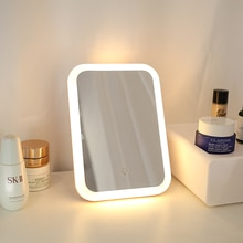 Makeup Mirror With Lights Adjustable Touch Screen Cosmetic Mirror  Cute Desktop Beauty Vanity Mirror