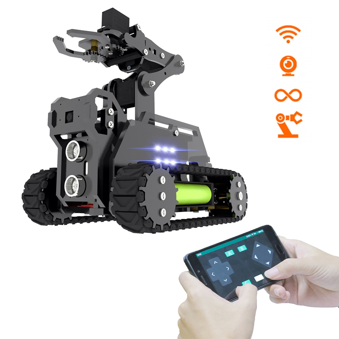 Adeept RaspTank WiFi Wireless Smart Robot Car Kit Tank 4DOF Robotic Arm Robot OpenCV Target Tracking