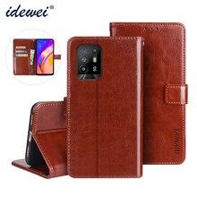 Flip Leather Case For OPPO F19 Pro+ Cover Luxury Phone Case For OPPO Reno 5Z Wallet Case Funda Capa