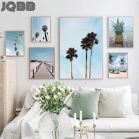 nature scenery poster nordic canvas painting blue beach landscape picture wall art poster and print for home living room decor