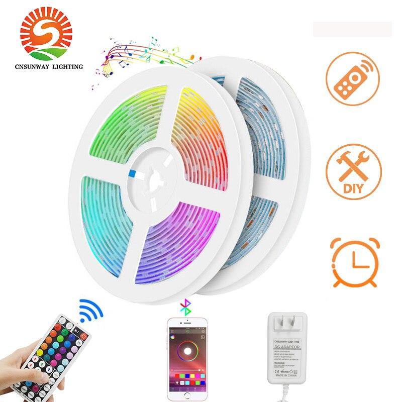 Tira de luces LED RGB Bluetooth SMD5050, tira de luces LED de diodo de Cinta Inteligente, Kits de tiras de luces de 44 teclas, mando a distancia RF, Conector de 4 pines