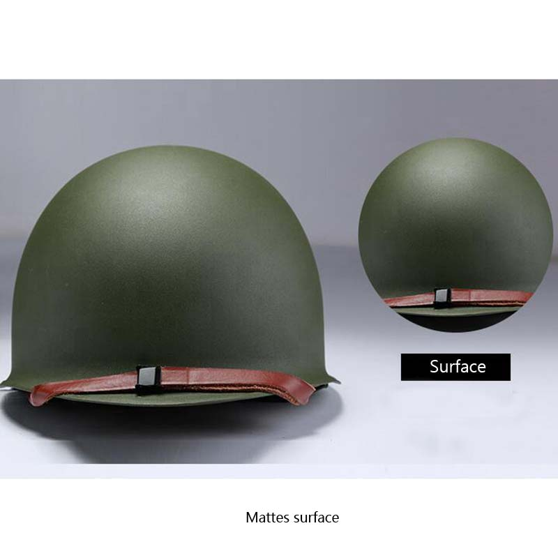 US Army M1 Green Helmet Replica Adjustable with Net/Canvas Chin Strap Tactical Paintball Gear Steel Helmet for Adults  - buy with discount