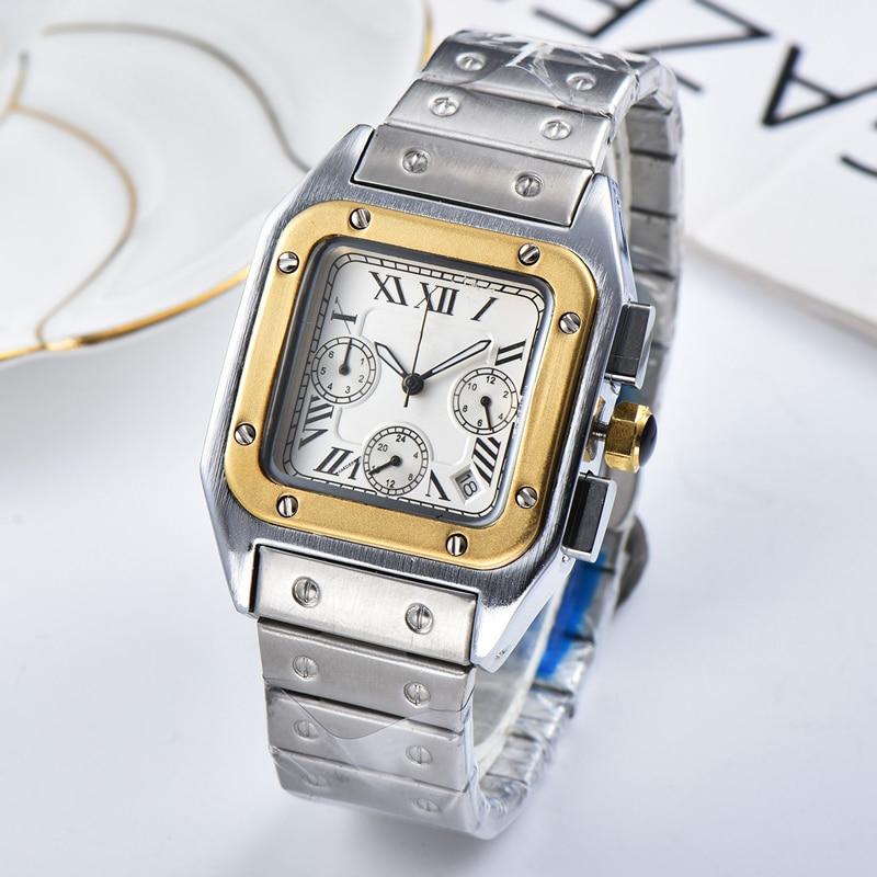 Luxury Top Brand Square Watch Men Classic Vintage Men Quartz Watch Stainless Steel Dial Luxury Clock Montre Homme