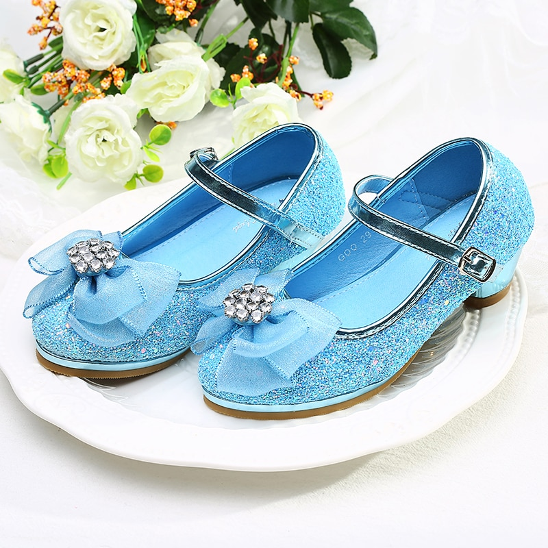 Princess Style Kids Leather Shoes for Girls Casual Glitter Children Low Heel with BowknotSTX011