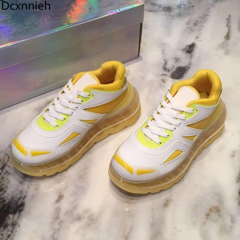 النساء الرجال حجم جلد طبيعي سميكة سوليد جلدية رياضية زوجين عادية منصة صغيرة حذاء أبيض وسادة هوائية جديدة أحذية Mujier