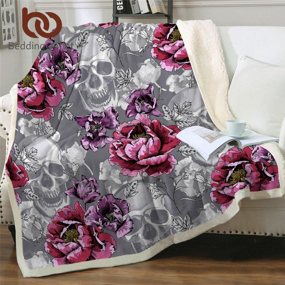 Beddingoutlet açúcar crânio lance cobertor cobertores florais para cama peônia flor rosa cobertor gótico cinza plush colchas cobertor