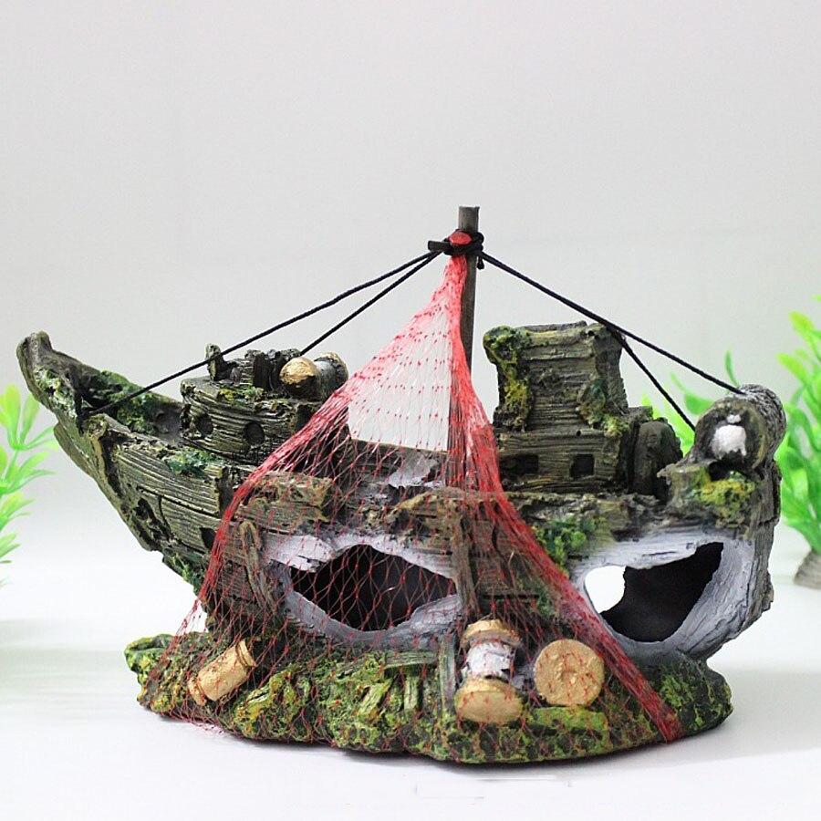 زخرفة حوض السمك ، سفينة حطام القراصنة ، قارب غاطس ، زخرفة خزان الأسماك ، ماء ، شحن مجاني ، 2016