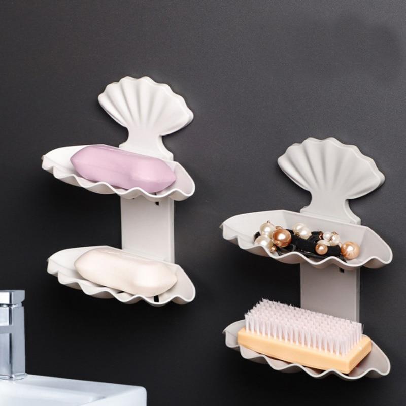 Duplo sabão holde ventosa dreno saboneteira acessórios do banheiro caixa de armazenamento palete recipiente plástico livre perfuração concha