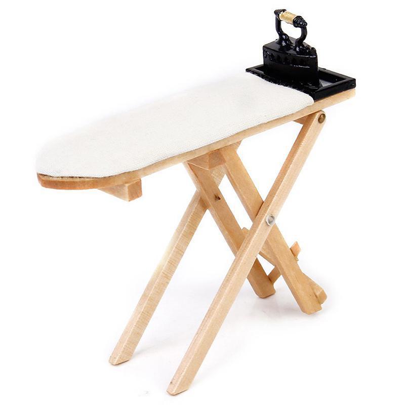 Mini Craft białe drewno deska do prasowania scena akcesoria domek dla lalek miniaturowe meble tylko zabawka 112 domek dla lalek deska do prasowania