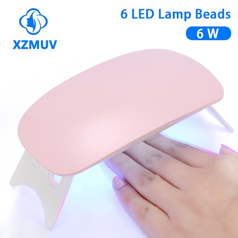 XZMUV Mini 6W Nail Dryer Machine Portable 6 LED UV manicure Lamp nails USB Cable Home Use Nail lamp