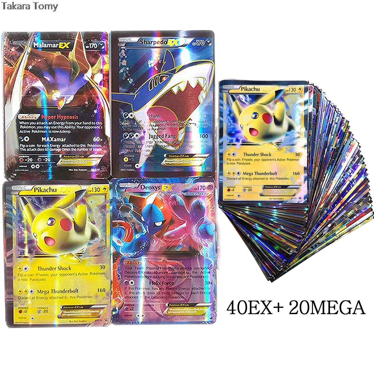60 unids/caja TAKARA TOMY Pokemon Tarjeta de batalla EX MEGA Booster caja inglés juego de intercambio tarjeta brillante lista de carga superior juguete para regalo para chico