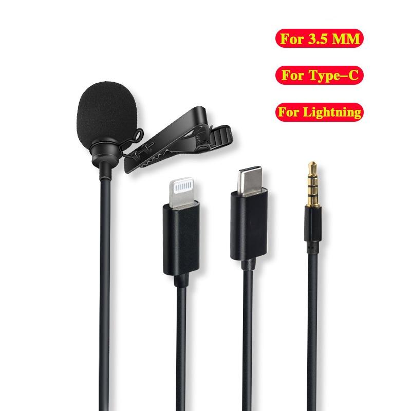 Mini micrófono para iPhone, tipo C, 3,5mm, para Samsung, Huawei, Xiaomi, Lavalier