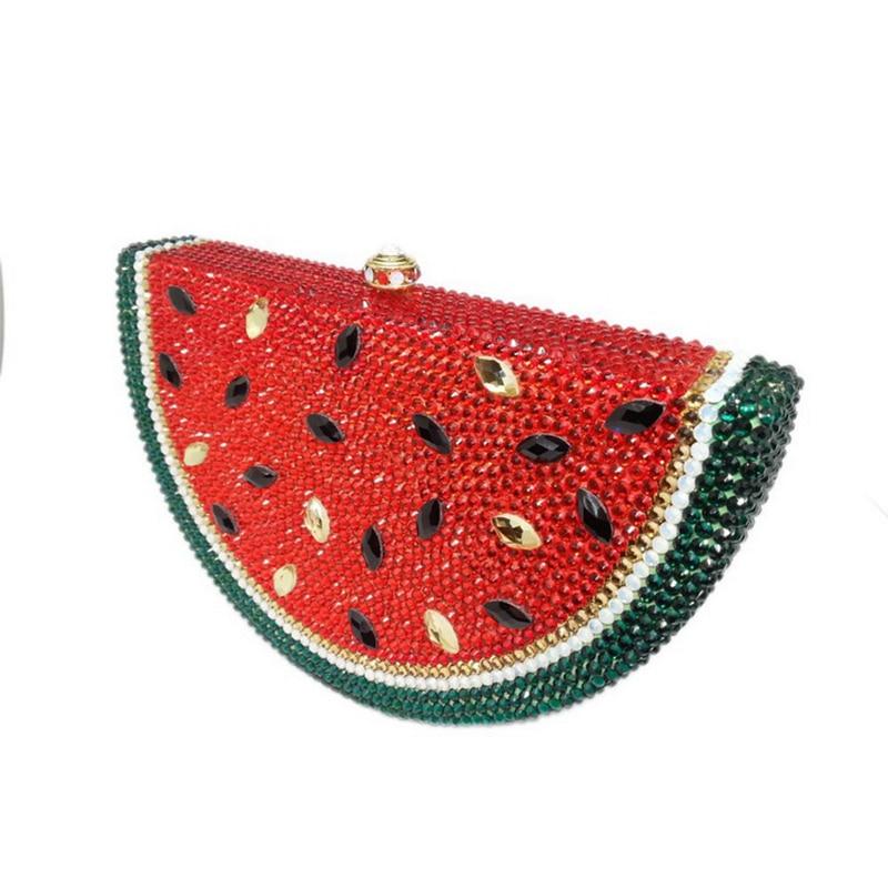 بلينغ عالية الجودة مخصصة اليدوية حجر الراين البطيخ شكل كامل كريستال الخرز مساء الطرف مخلب محفظة حقيبة يد