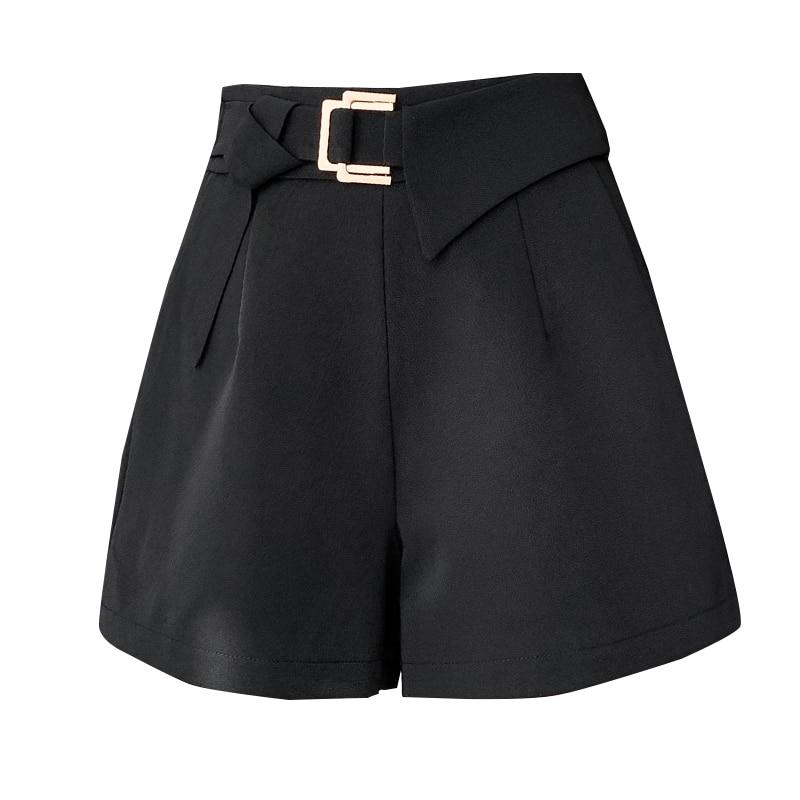 Summer Shorts Female Fashion Korean Asymmetric metal buttons Women Shorts 2021 Wide Leg Slim Suit Short Pants  - buy with discount