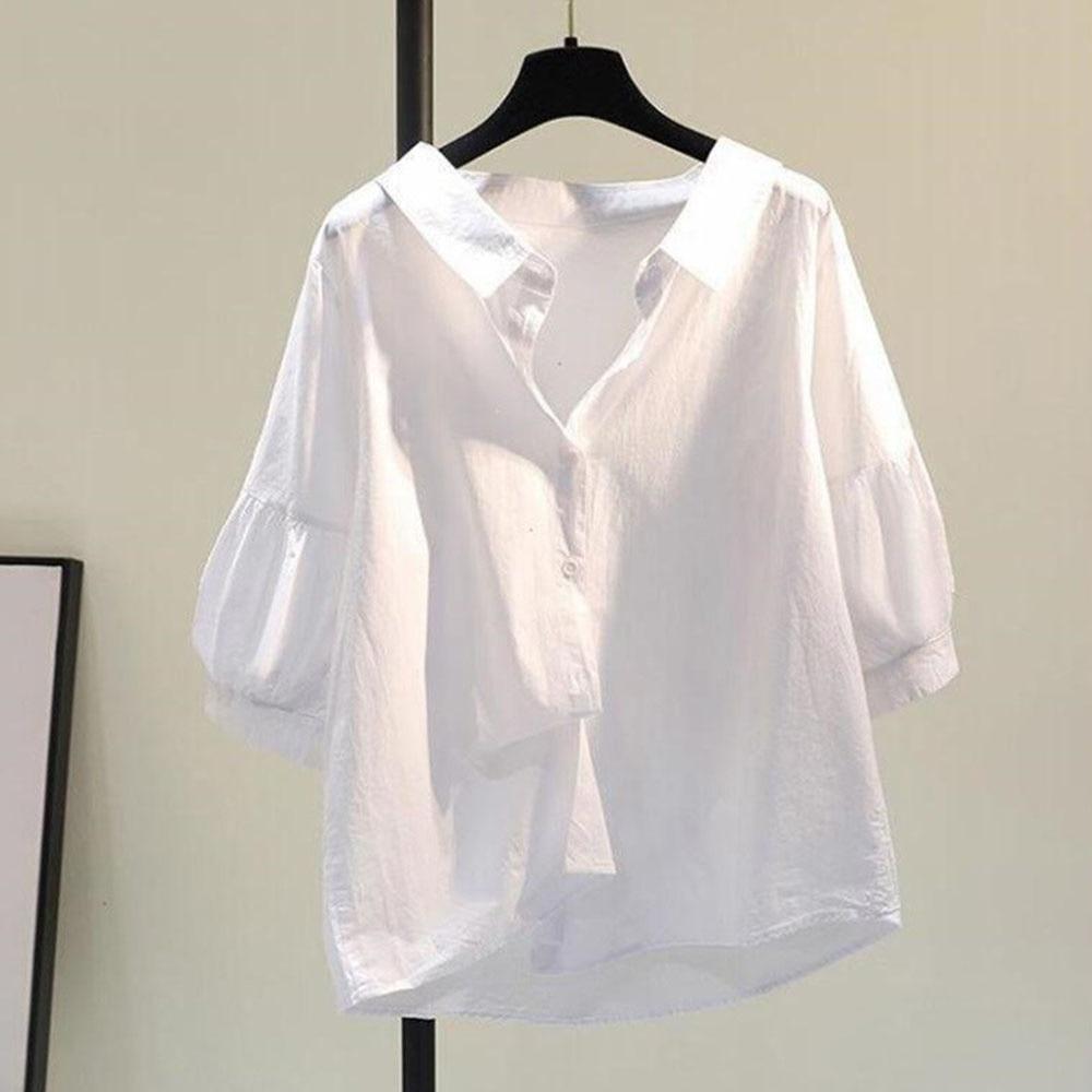 Lantern Sleeve Cotton Linen Shirt Women 2021 Summer New Style Korean Loose Casual Shirt Three-quarte