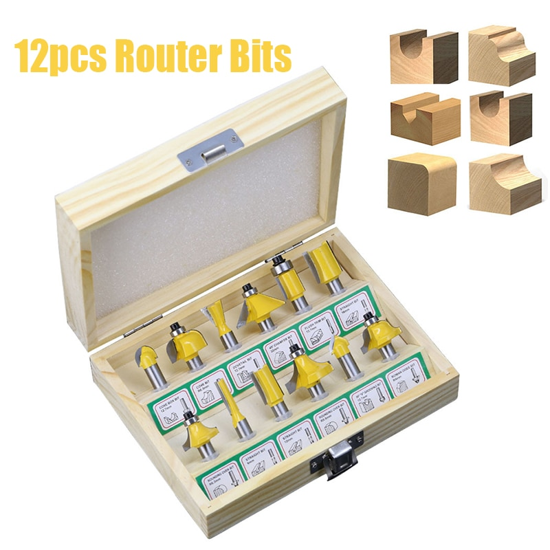 12pcs 8mm Router Bit Set Trimming Straight Milling Cutter Wood Bits Tungsten Carbide Cutting Woodworking Trimming Tools Set