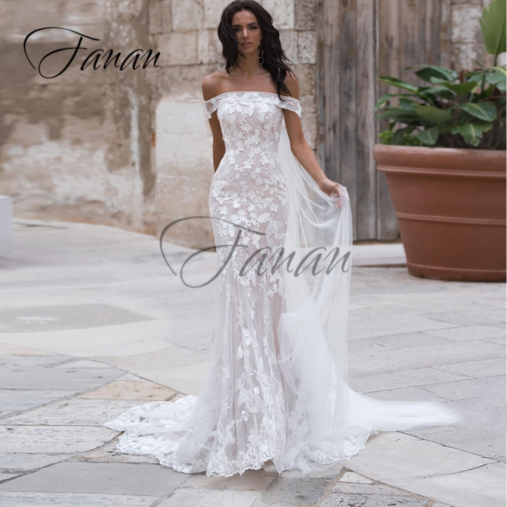 Promo Boat Neck Off The Shoulder Mermaid Wedding Dresses Lace Appliques Organza Court Train Bridal Gown Свадебное платье vestidos