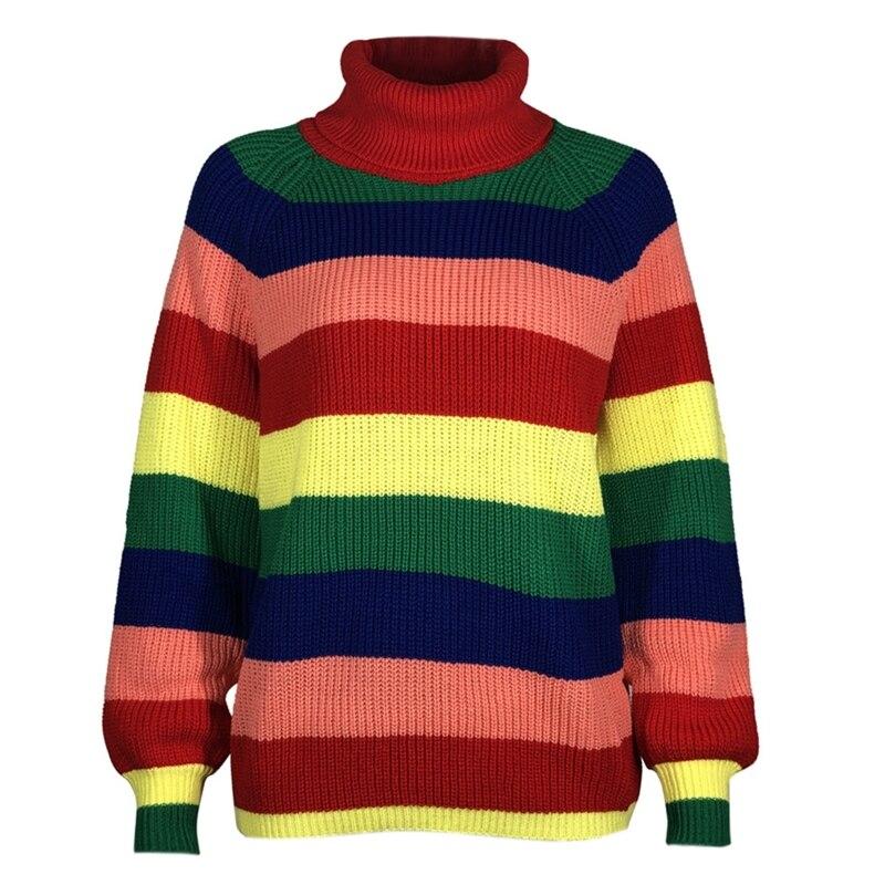 Women Lantern Sleeve Sweater Knitwear Turtleneck Rainbow Striped Jumper Tops enlarge