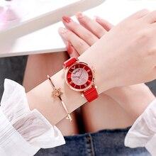 Reloj de pulsera de lujo para mujer, relojes de correa de cuero con diamantes de imitación, aleación de TEPHEA analógica, cuarzo rojo, púrpura, relogia 2019