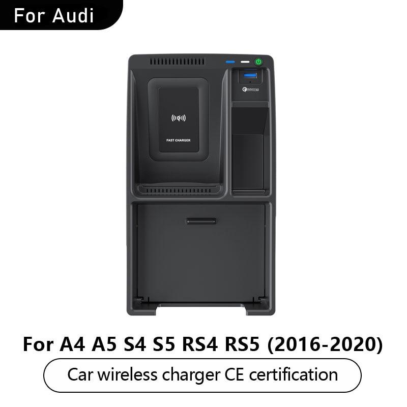 Nueva almohadilla de carga inalámbrica para coche 2020 para Audi A4 A5 S4 S5 RS4 RS5 2016-2020 apoyabrazos caja cargador inalámbrico placa de carga para teléfono