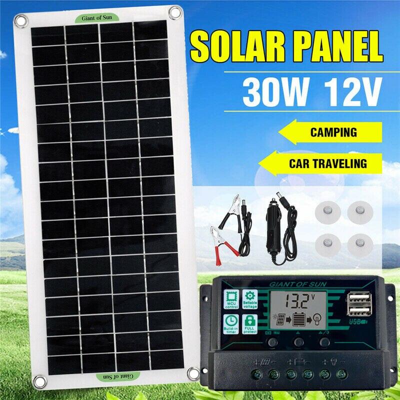 30 واط ألواح الطاقة الشمسية المحمولة 12 فولت للسيارة فان قارب قافلة شاحن بطارية الكارافان