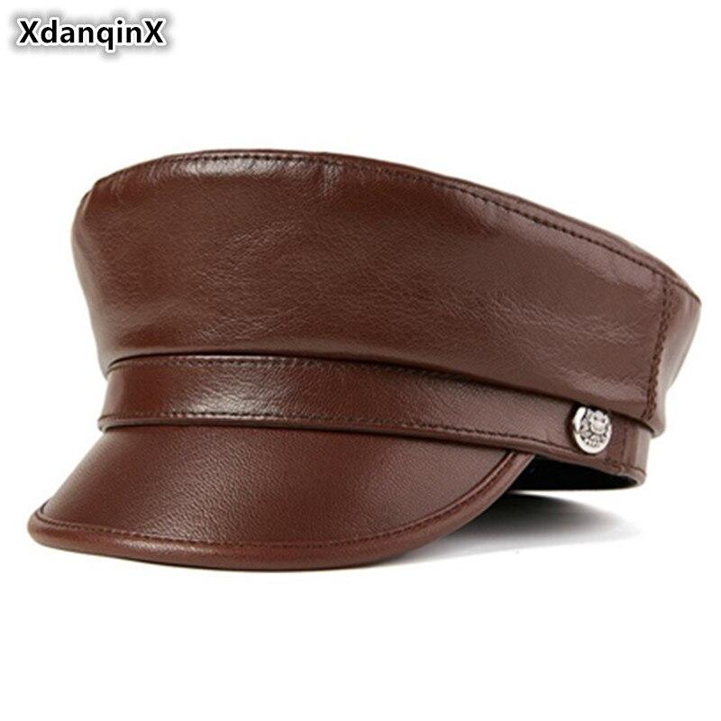 XdanqinX-قبعة مسطحة للرجال ، قبعة عسكرية ، قبعة من الجلد الطبيعي ، للأزواج ، طلاب ، قبعة أنيقة من جلد الغنم للنساء
