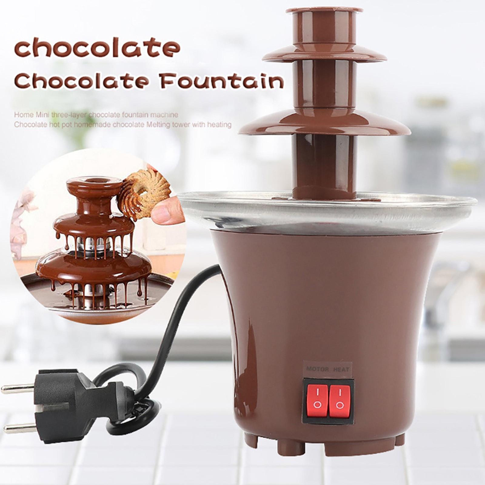 نافورة شوكولاتة صغيرة ثلاث طبقات تذوب الشوكولاته الإبداعية مع آلة فوندو التدفئة لتقوم بها بنفسك شلال صغير Hotpot الاتحاد الأوروبي التوصيل # h3