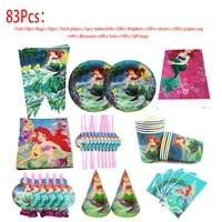 83pcs the little mermaid ariel princess disposable tableware set mermaid tablecloths straws birthday decorations baby shower