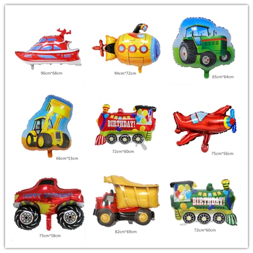 1PCS Cartoon Car Fire Truck Aluminum Film Train Balloon Globos Children Gift Birthday Party Decoration