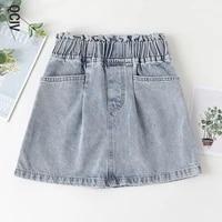 summer jeans skirt for girls korean children light blue pants cotton solid color denim trousers teenage clothing 4 13years