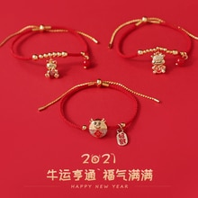 Year of the Ox 2021 New Year's Birth Year Red Rope Woven Bracelet Female Year of the Ox Mascot Lucky
