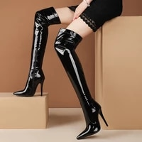 sexy stiletto super high heels thigh high boots ladies autumn winter over the knee long boots shoes cuissarde femme black white