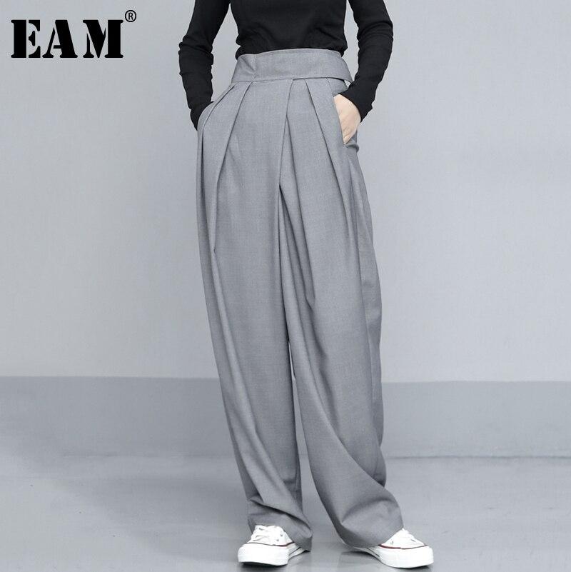 EAM-بنطلون رمادي بطيات ، خصر عالي ، أرجل طويلة ، بقصة فضفاضة ، موضة المد ، ربيع خريف 2021 ، 1T735