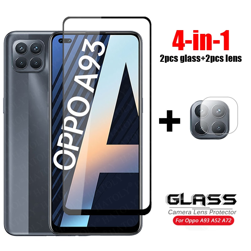 4-in-1 For Glass Oppo A93 Tempered Glass Oppo A72 A52 A92 A53 A32 A15 A12 Camera Lens Screen Protector HD Full Cover Phone Film