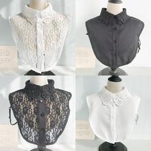 2020 Women Cotton Lace Fake Collar Blouse Vintage Detachable Shirt Collar False Collar Lapel Blouse