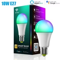 WiFi Smart Bulb Work With Alexa RGB Dimmable Light Smart Home E27 10W 800lm Timer Function Remote Control Lamp For Google Home