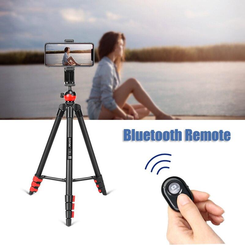 ZOMEI T60 trípode ligero profesional de Control remoto Bluetooth Tripode soporte con soporte de teléfono para cámara Gopro Smartphone