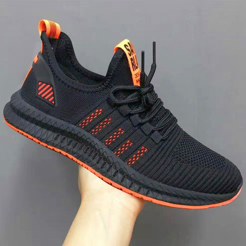 Men Fashion Cheap Sneakers Breathable Casual Shoes Orange Sole Mesh Lightweight Weaving Five Stripe Trainers zapatillas hombre