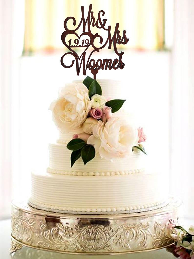 Wedding cake topper with personalized surname Wood Cake Topper wedding Custom Toppers for Rustic