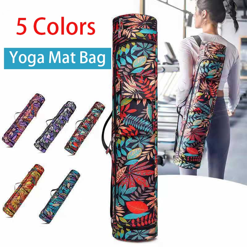 Printed Yoga Mat Bag Fitness Sports Backpack Yoga Pocket Carrier Pilates Knapsack Large Capacity Storage Dance Sports Bag