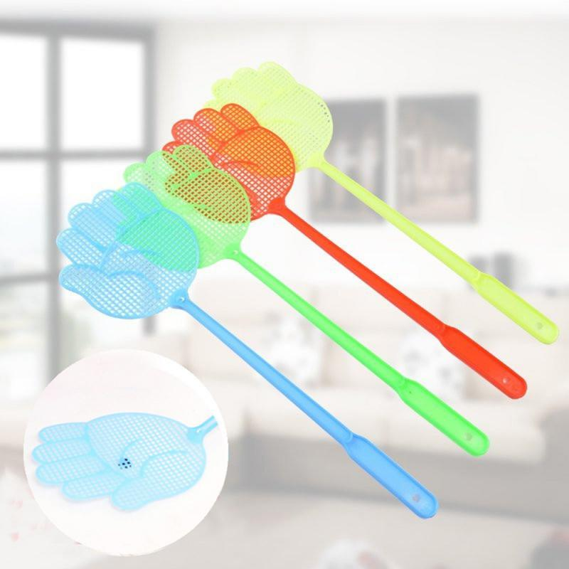 10 قطعة منشة الذبابة لطيف النخيل نمط البلاستيك يطير منشة خفيفة الوزن المنزلية صاعق البعوض علة مكافحة الآفات لون عشوائي