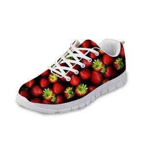 HaoYun Fashion Women Sneaker Shoes 3D Fruits Design Pattern Girls White Flat Walking Shoes Breathable Ladies Footwear Zapatillas