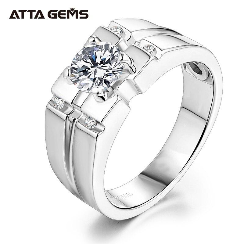 Attagems 925 Sterling Silver Moissanite Ring For Men Wedding 1.0ct Round Moissanite Center Channel Sides Men's Diamond Rings