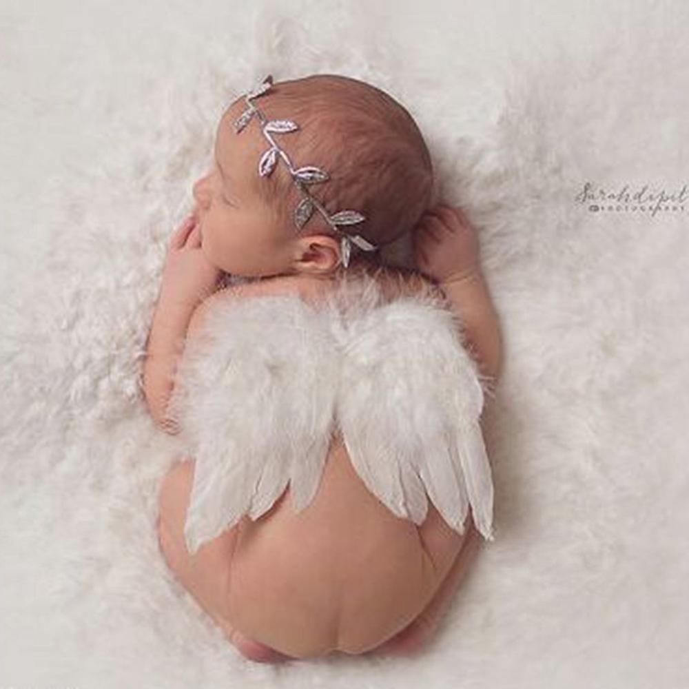 Recién Nacido bebé bautizo hecho a mano diadema de hojas y alas de plumas de Ángel ropa de bebé fotografía caliente