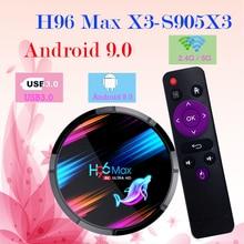 H96 MAX X3 akıllı TV kutusu Android 9.0 4GB 128GB Amlogic S905X3 BT4.0 100M 8K 2.4G/5G WIFI Google medya oynatma H96 MAX android TV kutusu
